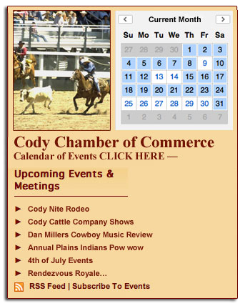 Cody Chamber of Commerce Calendar